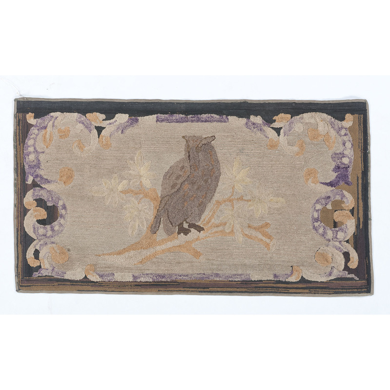 Hooked Rug with Owl