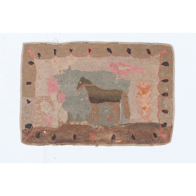 Hooked Rug with Horse in Landscape