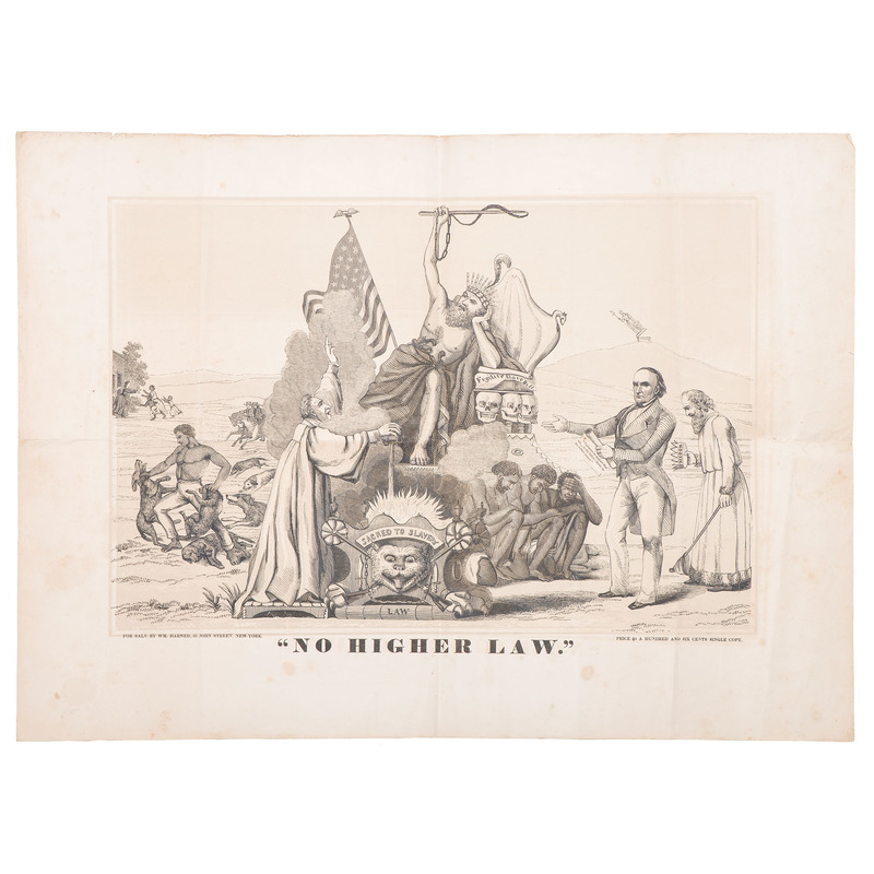 Antislavery Woodcut, No Higher Law, Ca 1850
