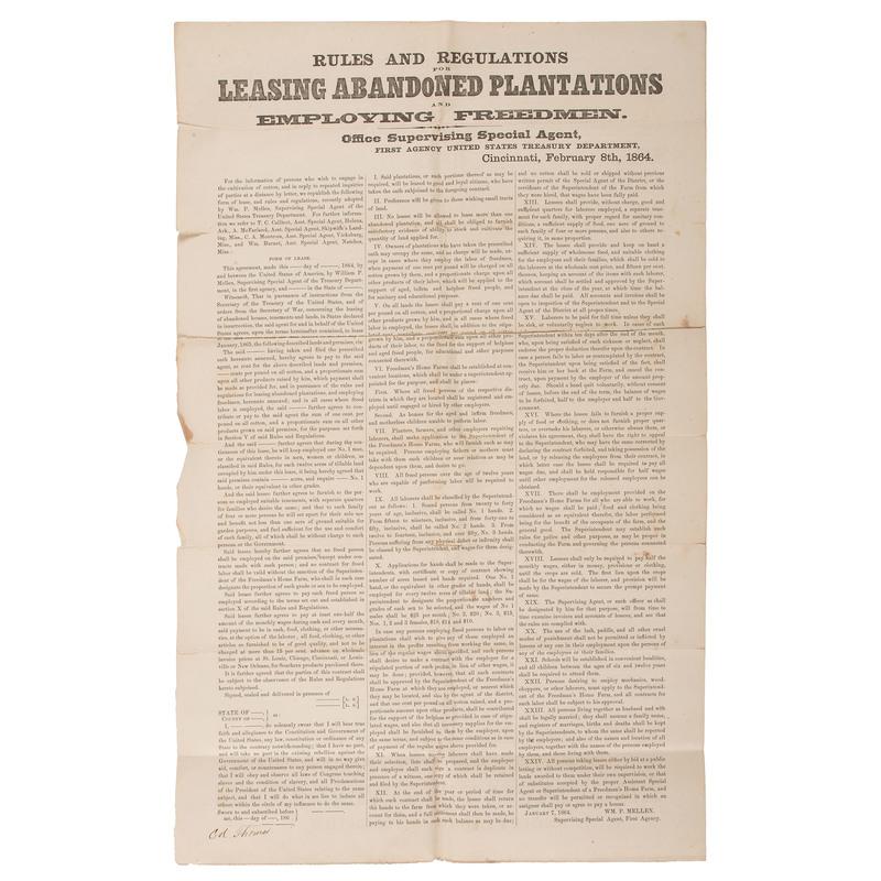 Leasing Abandoned Plantations, Civil War Broadside, 1864