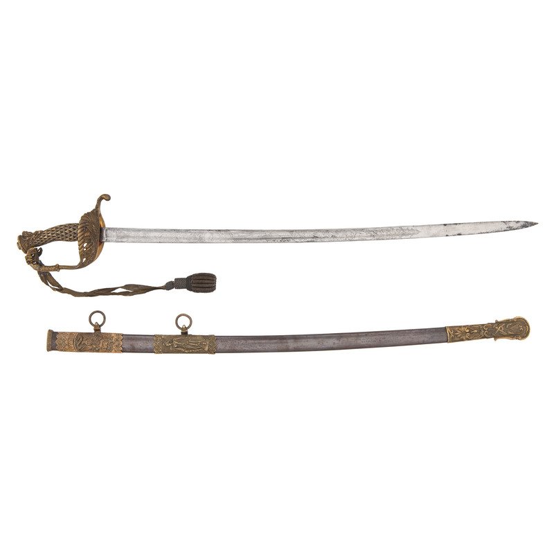 High  Grade Presentation Staff And Officers Sword