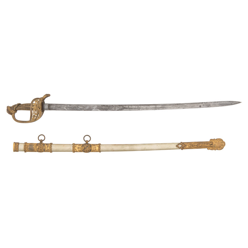 Fancy High Relief Presentation Model 1850 Staff & Field Officer's Sword to Lieut. Col Chas. H. Tay, 10th N.J.V.
