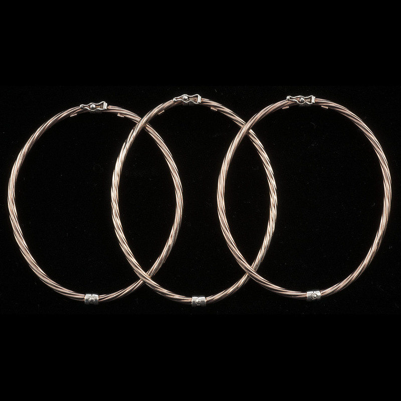 Rose Gold Plated Sterling Silver Bangles, Lot of Three