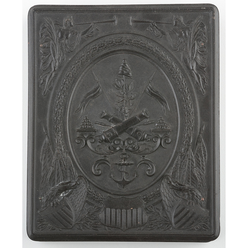 Half Plate Union Case, Crossed Canons with Seraphs and Eagles Border, Black [Berg 1-4]