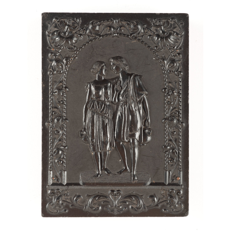 Double Ninth Plate Union Case, Two Lovers Going to the Well, Black [Berg 1-16]