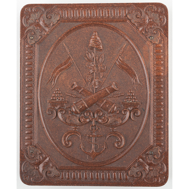 Scarce Quarter Plate Union Case, Crossed Cannon, Brown [Berg 1-18]