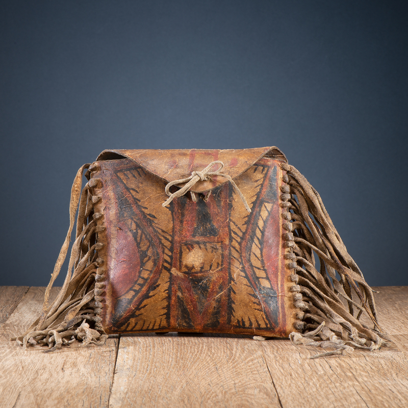 Kutenai Buffalo Hide Painted Two-Sided Fringed Parfleche Case