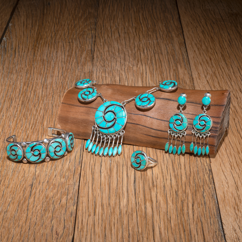 Annie Quam Gasper (Zuni, 1920-2002) Channel Inlay Turquoise and Silver Set
