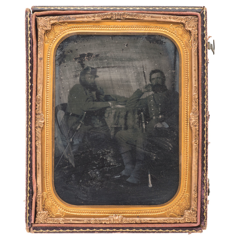 Half Plate Ambrotype of Confederate Officers, Incl. Lieutenant Colonel Charles F. Johnson