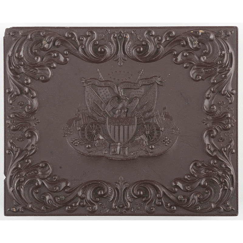Scarce Quarter Plate Union and Constitution 1 Containing Tintype of Civil War Soldier [Berg 1-19/2-7]