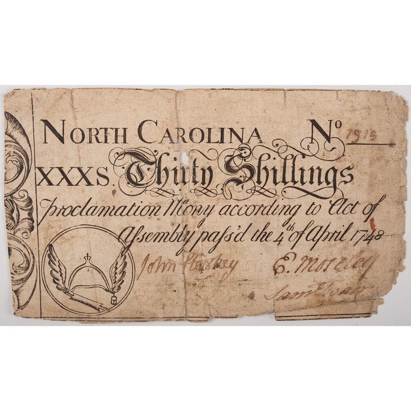 North Carolina 30 Shilling, 1748, Colonial Currency Proclamation Note