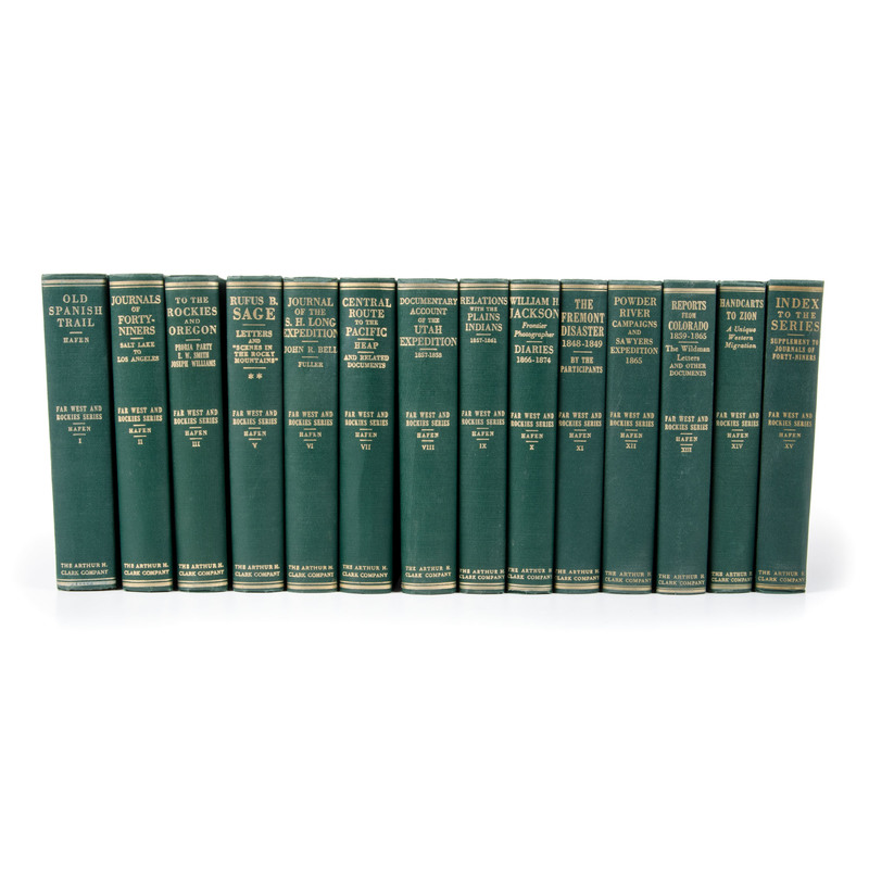 """[Western Americana] Arthur H. Clark Series """"The Far West and the Rockies,"""" Complete in 15 Volumes with Prospectus"""
