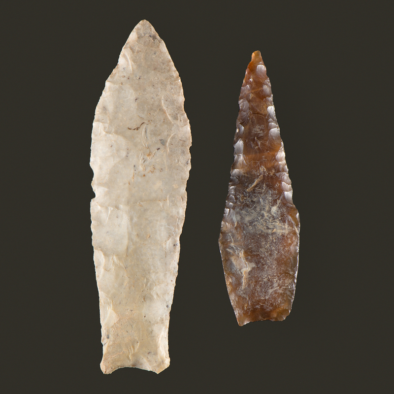A Sedalia Point AND A Knife River Flint, Agate Basin Drill, From the Collection of Richard Bourn, Sr., Old Saybrook, Connecticut