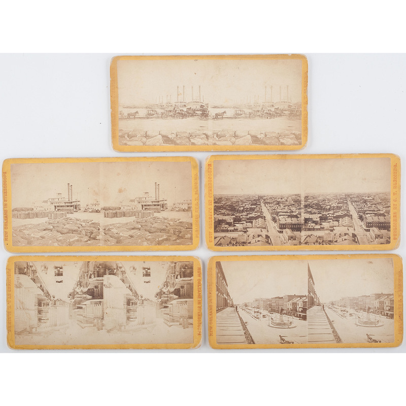 Lot of Five S.T. Blessing Steamboat and Canal Stereoviews