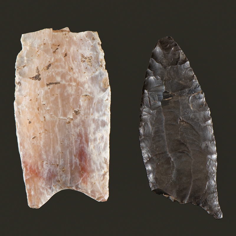 A Broken Translucent Quartz Clovis Point AND A Broken Cumberland Point,  From the Collection of Jon Anspaugh, Wapakoneta, Ohio