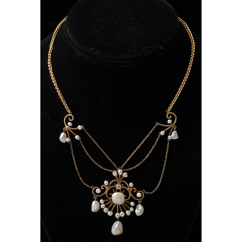 10k Gold Pearl and Diamond Necklace