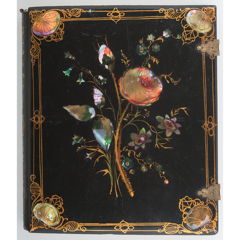 Very Very Rare Oversized Half Plate Papier Mache Case with Mother of Pearl Inlay and Hand Painting, Flowers and Leaves [Berg 6-239]