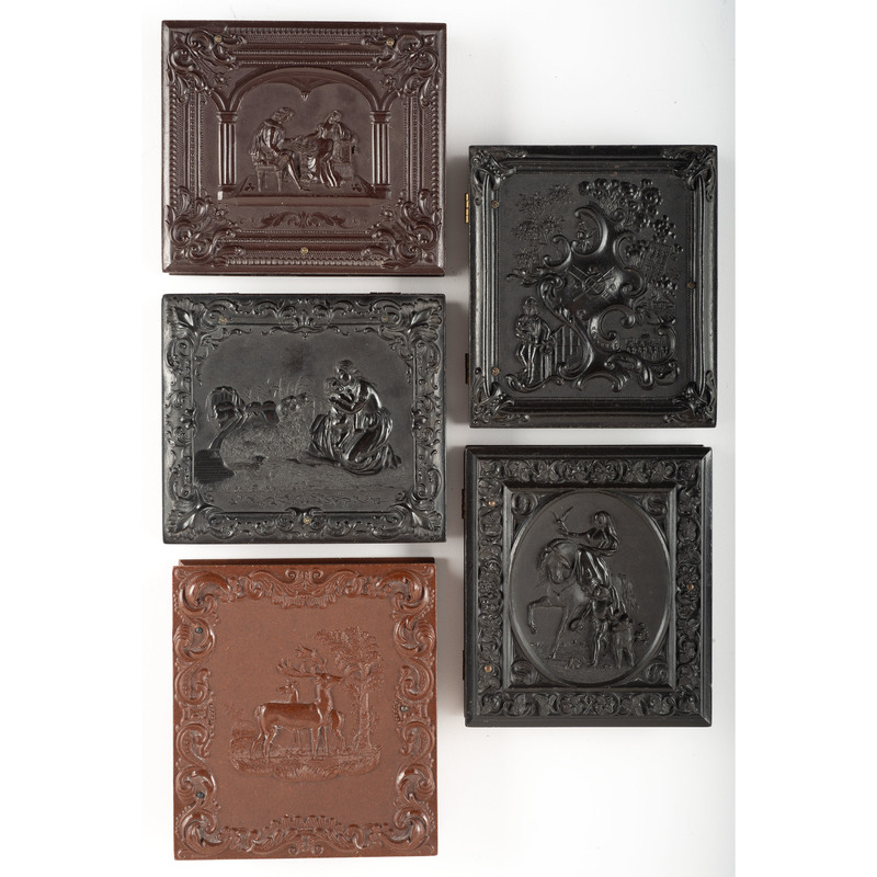 Five Scarce Sixth Plate Figural Union Cases [Berg 1-96, 1-98, 1-112, 1-116, 1-125]