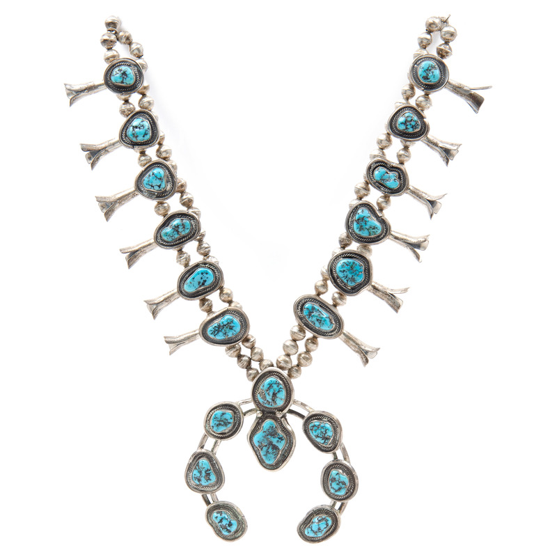 Navajo Silver and Turquoise Squash Blossom Neckace, Deaccessioned From the Hopewell Museum, Hopewell, NJ