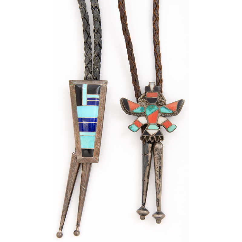 Tom Sam (Dine, 20th century) Navajo Bolo Tie PLUS A Zuni Knifewing Bolo Tie, Deaccessioned From the Hopewell Museum, Hopewell, NJ