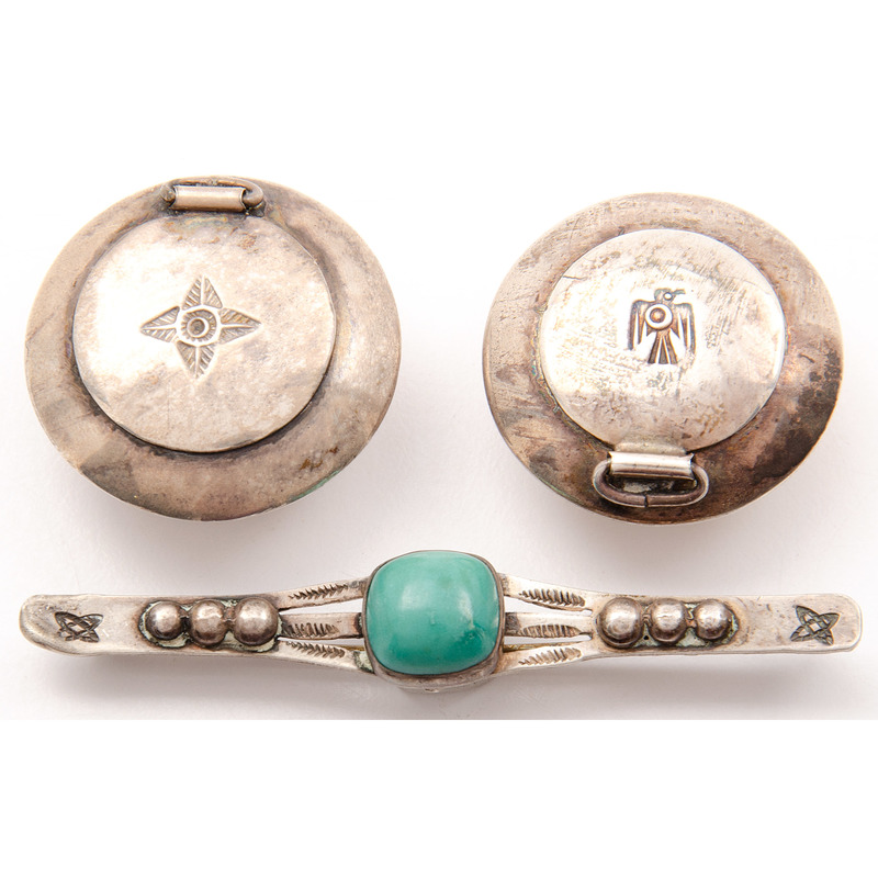 Navajo Silver Snuff Boxes AND Silver and Turquoise Brooch, Deaccessioned From the Hopewell Museum, Hopewell, NJ