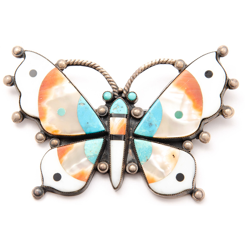 Zuni Mosaic Inlay Butterfly Brooch, Deaccessioned From the Hopewell Museum, Hopewell, NJ