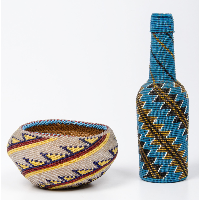 Paiute Beaded Basket and Bottle, Deaccessioned From the Hopewell Museum, Hopewell, NJ