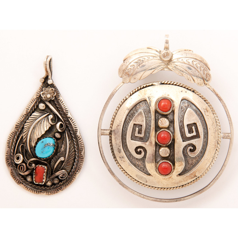 Navajo Silver, Turquoise, and Coral Pendants