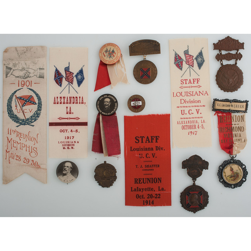 Fine Group of Confederate Veteran Ribbons, Medals, and Buttons