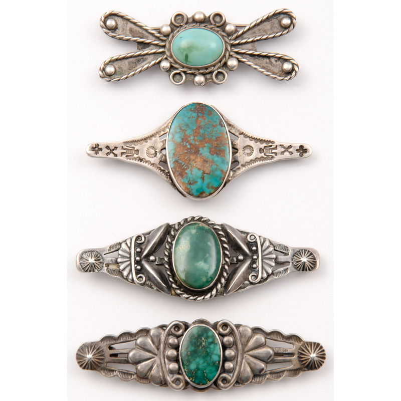 Fred Harvey Era Silver and Turquoise Brooches / Pins