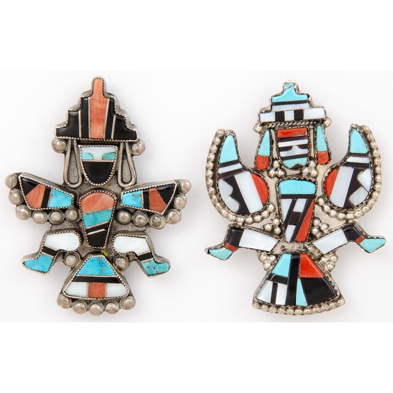 Zuni Silver Inlaid Knifewing Brooches / Pins
