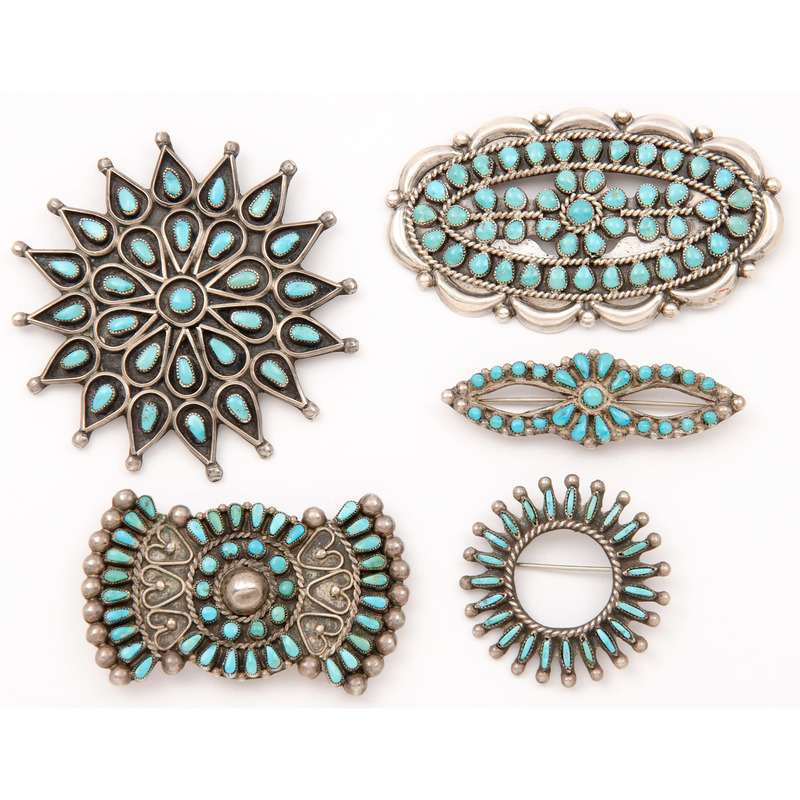 Zuni Silver and Turquoise Cluster Brooches / Pins