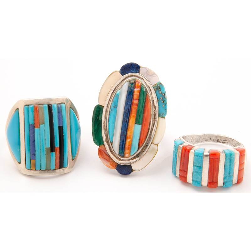 Don C. Dewa (Zuni, 20th century) Silver, Turquoise, and Coral Ring PLUS