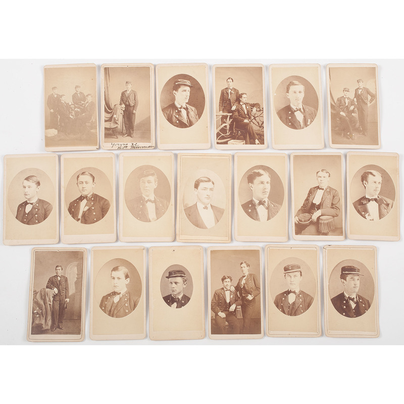 CDVs of Identified US Naval Academy Cadets, ca 1870s, Lot of 19