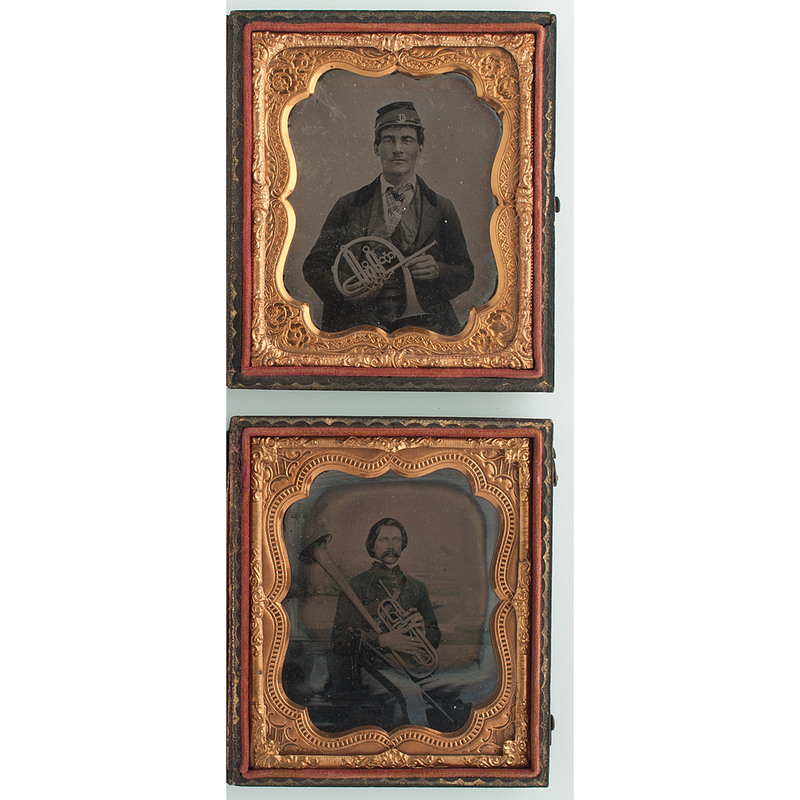 Civil War Sixth Plate Tintype and Ambrotype of Musicians Posed with Horns
