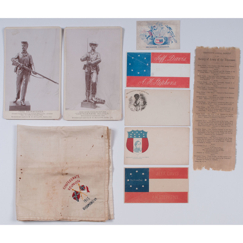 Confederate, UCV and GAR Reunion Grouping, Incl. Imprints, Covers, Ribbon, and More