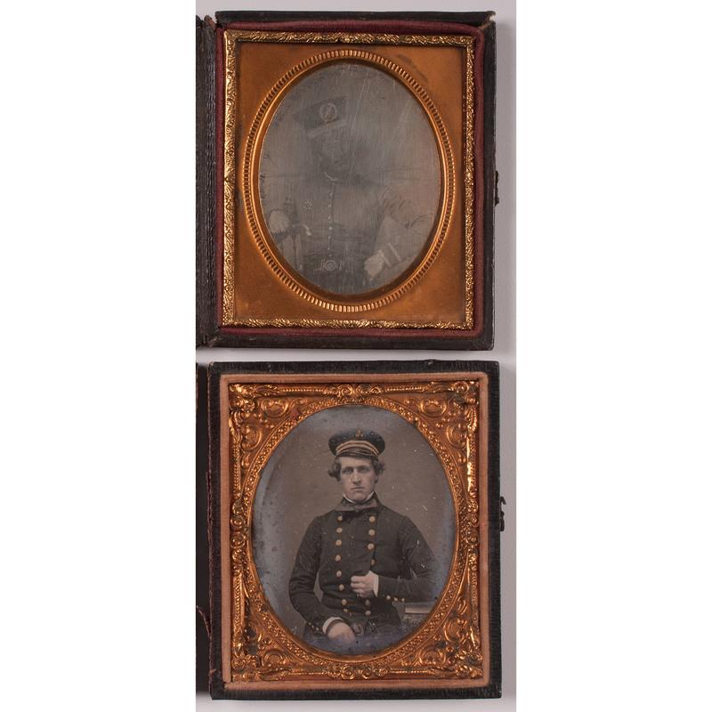 Pair of Sixth Plate Daguerreotypes Showing Men in Uniform