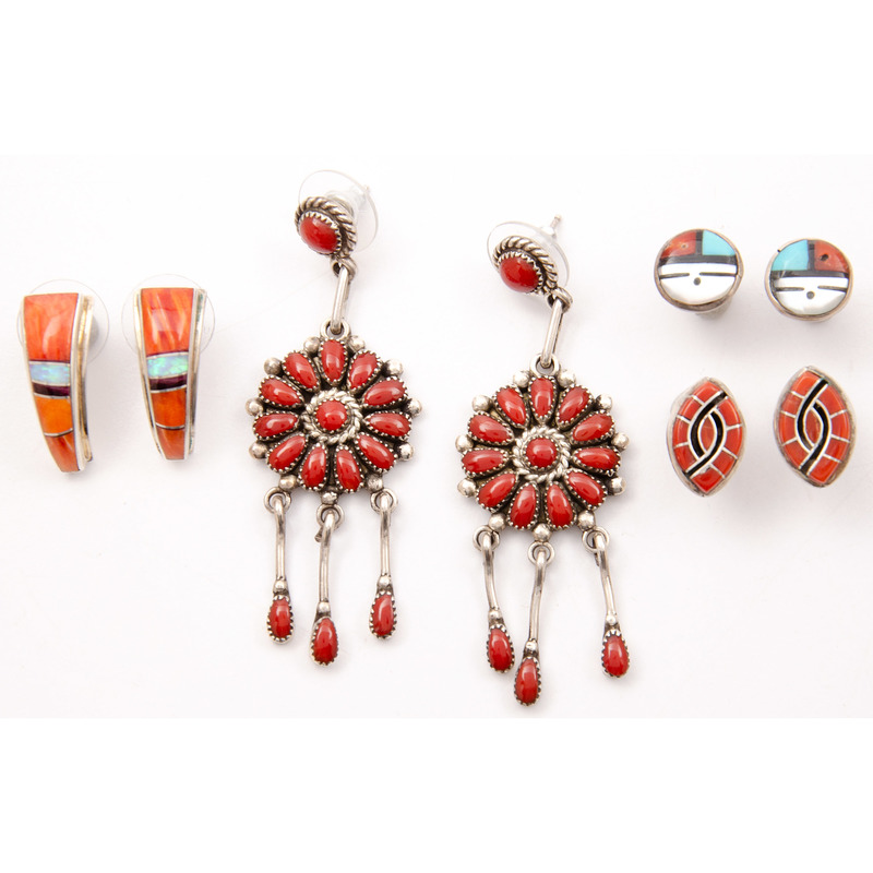 Lorraine Waatsa (Zuni, 20th century) Coral Cluster Earrings PLUS