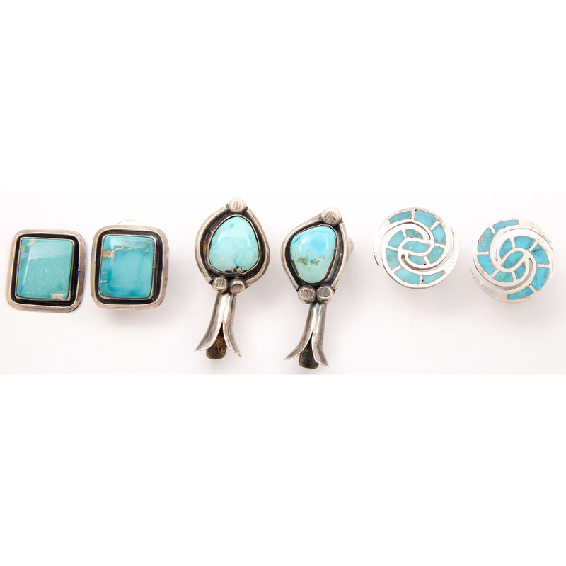 Ellen Quandelacy (Zuni, 1924-2002) Silver and Turquoise Earrings PLUS