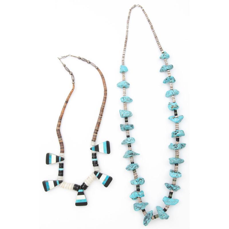Kewa Inlay Necklace PUS Pueblo Turquoise Nugget Necklace
