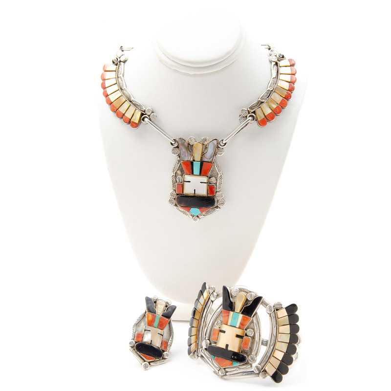 Dave Pino (Dine, 20th century) Navajo Silver and Mosaic Inlay Necklace, Cuff Bracelet, and Ring Set