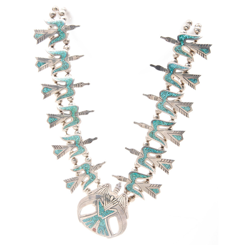 Juan T. Singer (Dine, 20th Century) Navajo Silver Peyote Bird Turquoise Chip Inlay Squash Blossom Necklace