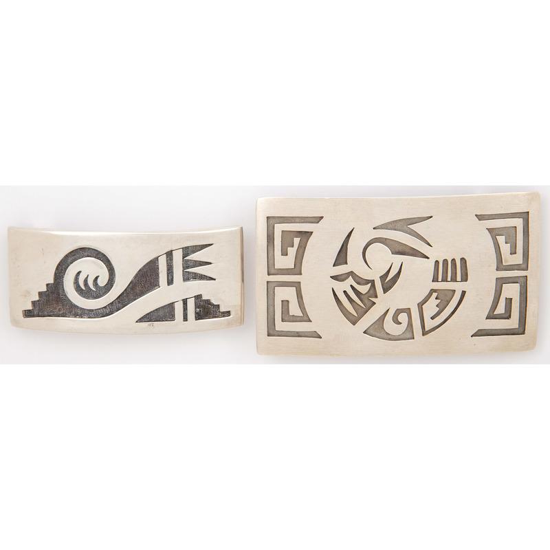 Leroy Kewanyama (Hopi, 1922-1997) Silver Overlay Belt Buckle PLUS