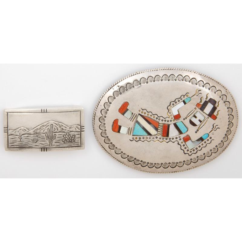 Richard S. Begay  (Dine, 20th century) Navajo Silver and Mosaic Inlay Rainbow Man Belt Buckle PLUS