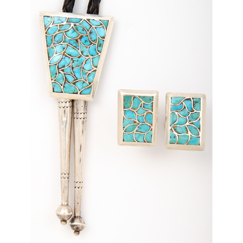 Zuni Silver and Turquoise Channel Inlay Bolo Tie and Cuff Links Set, Attributed to Bernard and Alice Leekya Homer
