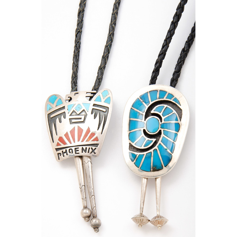 Carl and Irene Clark (Dine,20th century) Navajo Silver and Channel Inlay Bolo Tie, PLUS