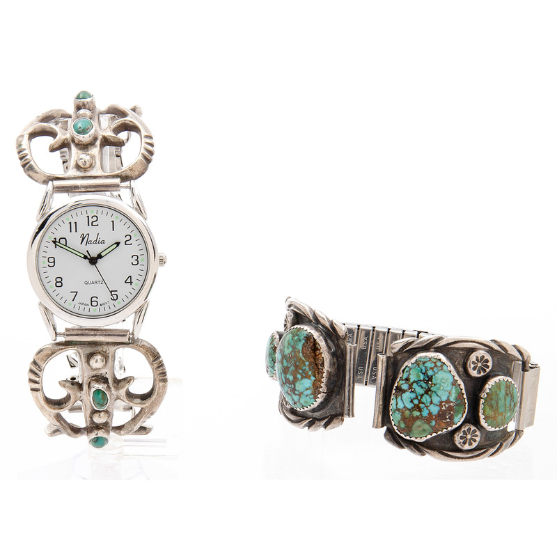 Navajo Silver and Turquoise Watch Bands, Including Artist Sadie Randolph