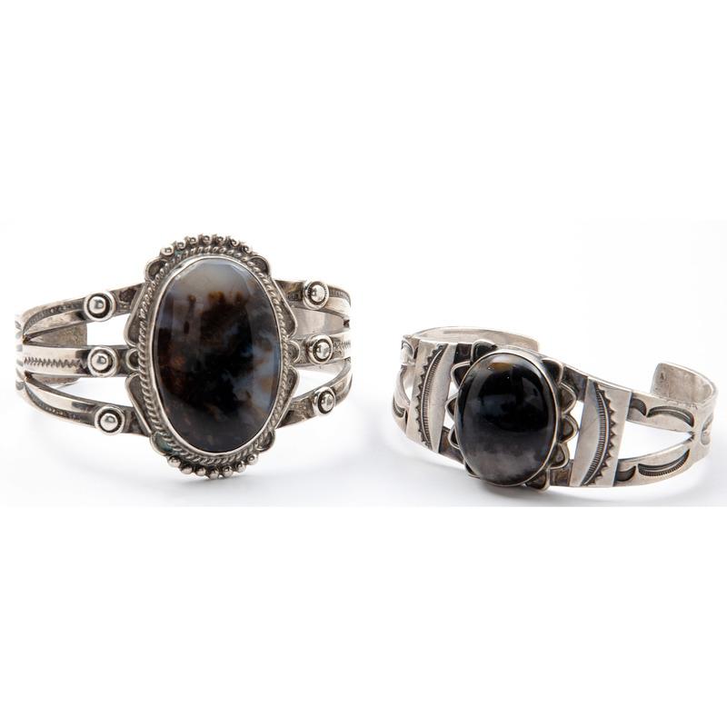 Navajo Silver and Petrified Wood Cuff Bracelets