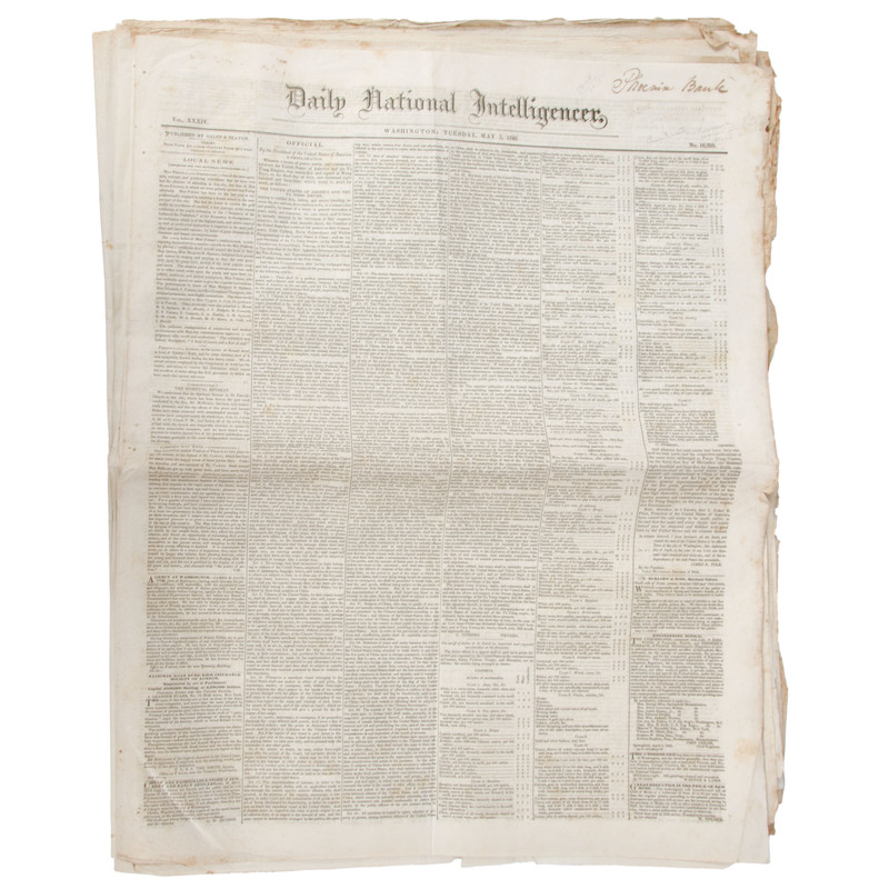 [Americana - 19th C. Newspapers]  Collection of 100+ Issues of the Daily National Intelligencer (Washington, DC), 1840, 1846, 1859, Etc.