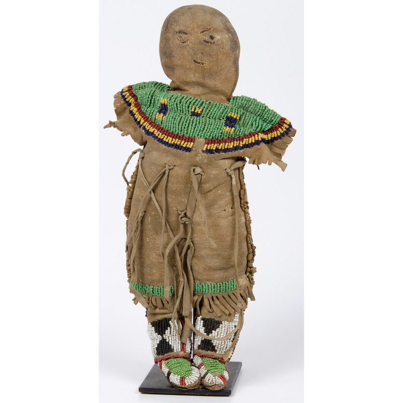 Northern Plains Beaded Cloth and Hide Doll, Deaccessioned From the Hopewell Museum, Hopewell, NJ